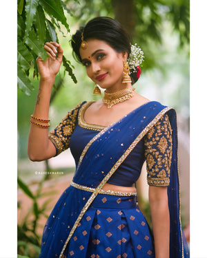 Navy Blue Banarasi Halfsaree