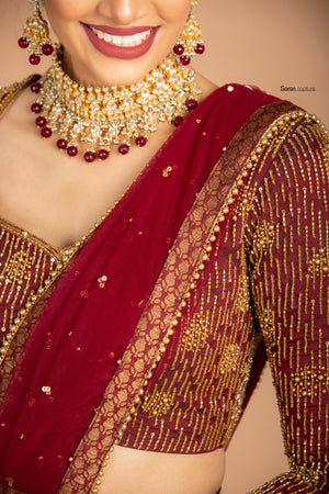 Maroon Half Saree Set