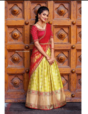Maroon and Olive Green Traditional Half Saree