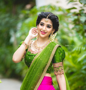 Green and Pink Traditional half saree