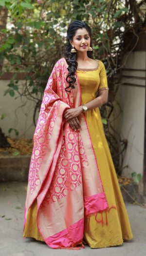 Mustered long Anarkali