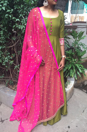 Olive green long dress with hot pink  Net worked dupatta