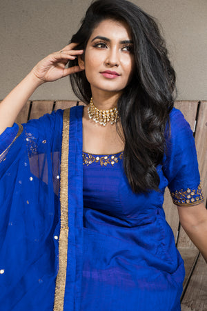 Ink Blue Anarkali With Mirror Work And Antique Gold Zardosi Detailing !!