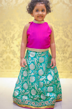Peacock Green Banarassi Skirt and Close Neck Lehenga
