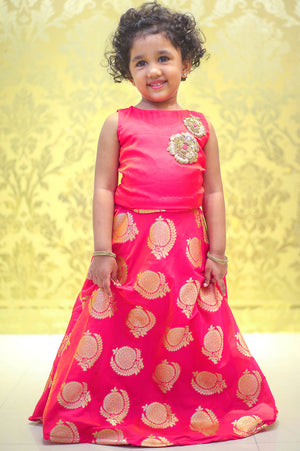 Pink Patch Work Kid Lehenga Set