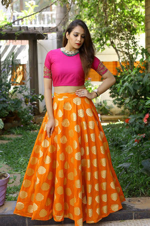 Orange and Pink Crop Top and Skirt Set