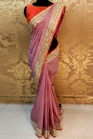 AN40 - Plum Shade Jute Silk Saree !!