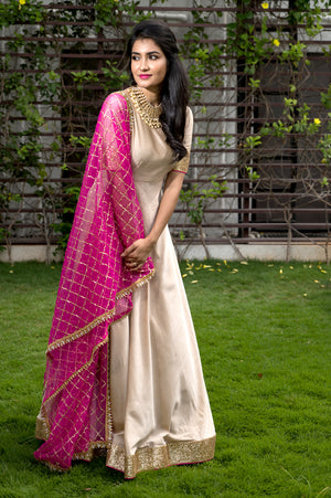 Butter Silk Anarkali With Sequins Border And Hot Pink Embellished Dupatta !!