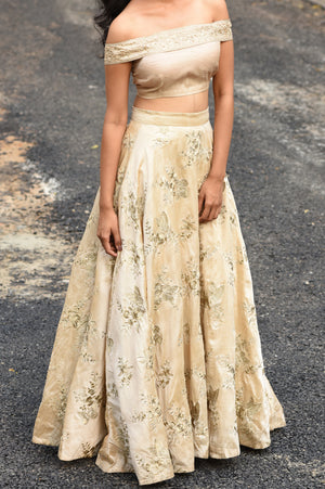 Beige Rawsilk Skirt and Crop Top Set