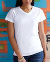 Ladies Sublivie V-Neck T-Shirt White  In Stock