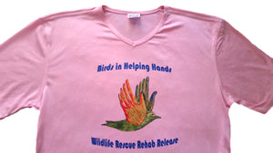 Birds in Helping Hands Ladies' Pink V-Neck Performance T-Shirt