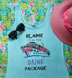 Blame it on the Drink Package Flamingo Lt Blue Tank Top (snug fit)