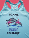Blame it on the Drink Package Flamingo Lt Blue Racerback Tank Top