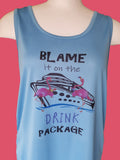 Blame it on the Drink Package Flamingo Columbia Blue Tank Top