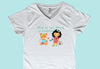 """Play is the Work of Children"" Ladies V-Neck White T-Shirts"