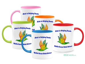Birds in Helping Hands Color Coffee Mugs