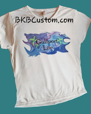 Gulfport Life Ladies Sublivie V-Neck T-Shirt   White