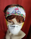 Headband w Buttons Flamingo on Bicycle