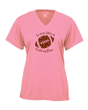 In It To Win It Football Ladies Pink V-Neck T-Shirt