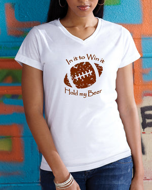 In It To Win It Football Ladies V-Neck T-Shirt White