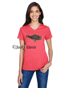 FishTales Rock Bass Ladies V-Neck T-Shirts