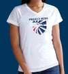 Project Hero Eagle Crest Ladies White V-Neck Performance T-Shirt