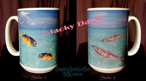 FishTales Coffee Mugs  Mackerl & Florida Jack Swimming