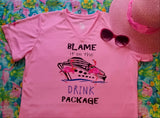 Blame it on the Drink Package Flamingo Pink V Neck T-Shirt