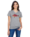 FishTales Pink Fish Ladies V-Neck T-Shirts