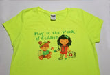 """Play is the Work of Children"" Ladies Yellow/Green T-Shirts"