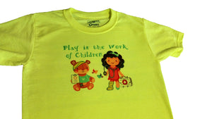 """Play is the Work of Children"" Yellow T-Shirt Children Sizes"
