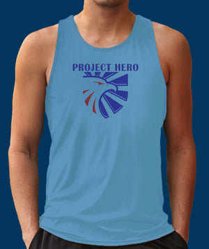 Project Hero Eagle Crest Men's Columbia Blue Performance Tank Top