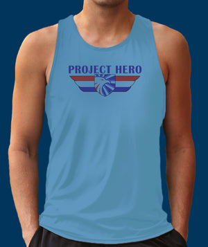 Project Hero Wings Men's Columbia Blue Performance Tank Top