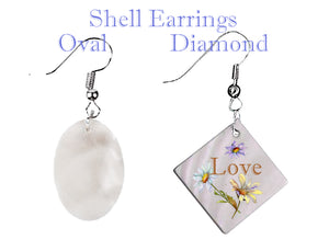 Mother of Pearl Earrings Oval or Diamond   Beautiful Jewelry!