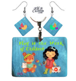 """Play is the Work of Children""  Pendant Jewelry of Mother of Pearl"