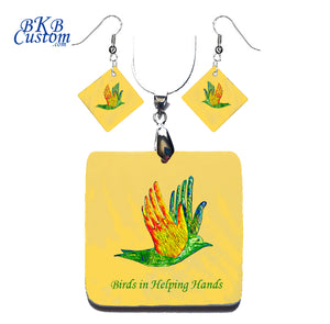 Birds in Helping Hands Square Necklace & Earrings  Mother of Pearl Shell