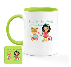 """Play is the Work of Children"" Fun Color Coffee Mugs & Coasters"