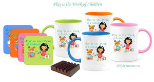 """Play is the Work of Children"" Fun Color Coffee Set of 4 w/ Coasters!!"