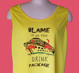 Blame it on the Drink Package Flamingo Yellow Tank Top