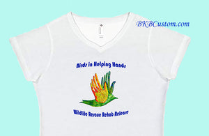 Birds in Helping Hands Ladies' Lightweight V-Neck White T-Shirt
