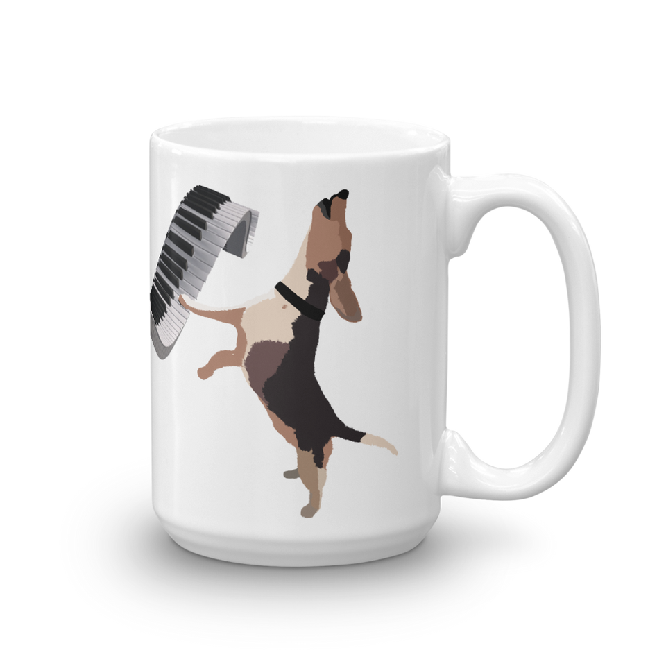 Buddy Mercury the singing piano playing beagle who portrays Freddie Mercury from the band Queen 15oz ceramic mug right handle