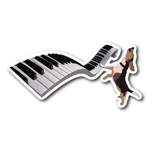 Buddy Mercury the singing, piano playing beagle who portrays Freddie Mercury from the band, Queen full color, die-cut Buddy sticker