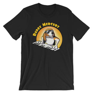 Buddy Mercury the singing piano playing beagle who portrays Freddie Mercury from the band Queen adult black tshirt