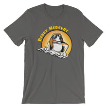 Load image into Gallery viewer, Buddy Mercury the singing piano playing beagle who portrays Freddie Mercury from the band Queen adult asphalt tshirt