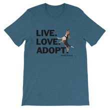 Load image into Gallery viewer, NEW! Live.Love.Adopt. Buddy Mercury Tee