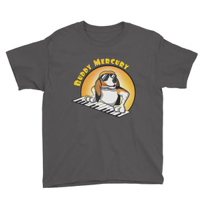 Buddy Mercury the singing piano playing beagle who portrays Freddie Mercury from the band Queen youth sized charcoal tshirt