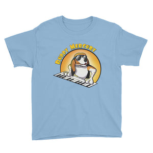 Buddy Mercury the singing piano playing beagle who portrays Freddie Mercury from the band Queen youth sized light blue tshirt
