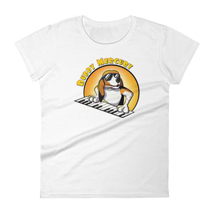 Buddy Mercury the singing piano playing beagle who portrays Freddie Mercury from the band Queen white ladies fit tshirt