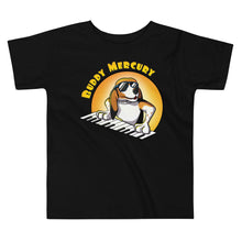 Load image into Gallery viewer, Buddy Mercury the singing piano playing beagle who portrays Freddie Mercury from the band Queen toddler sized black tshirt
