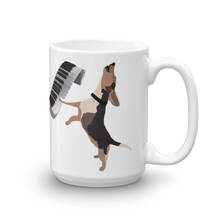 Load image into Gallery viewer, Buddy Mercury the singing piano playing beagle who portrays Freddie Mercury from the band, Queen full color ceramic beverage mug